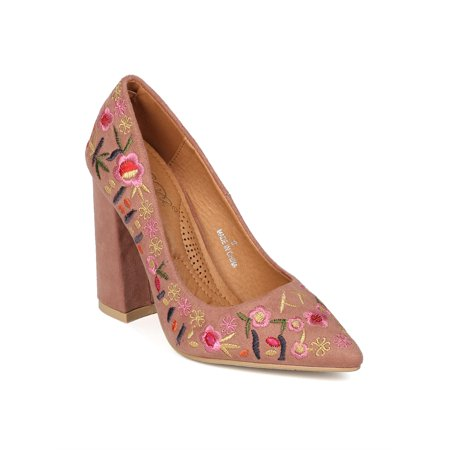- New Women Faux Suede Pointy Toe Embroidered Block Heel Pump - 17933 by DbDk
