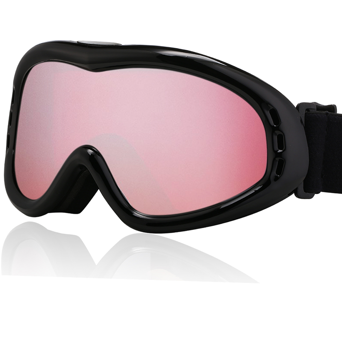 Ski Snowboard Goggles Glasses UV400 Protect Anti-fog Vermilion Men Women by Unique-Bargains