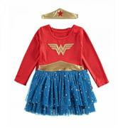 Wonder Woman Long Sleeve Halloween Costume Dress With Cape & Headband, 2pc Set (12M-4T)