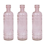 Luna Bazaar Small Vintage Glass Bottle (6.5-Inch, Mabel Round Design, Vintage Pink, Set of 3) - Flower Bud Vase - For Home Decor, Party Decorations, and Wedding Centerpieces