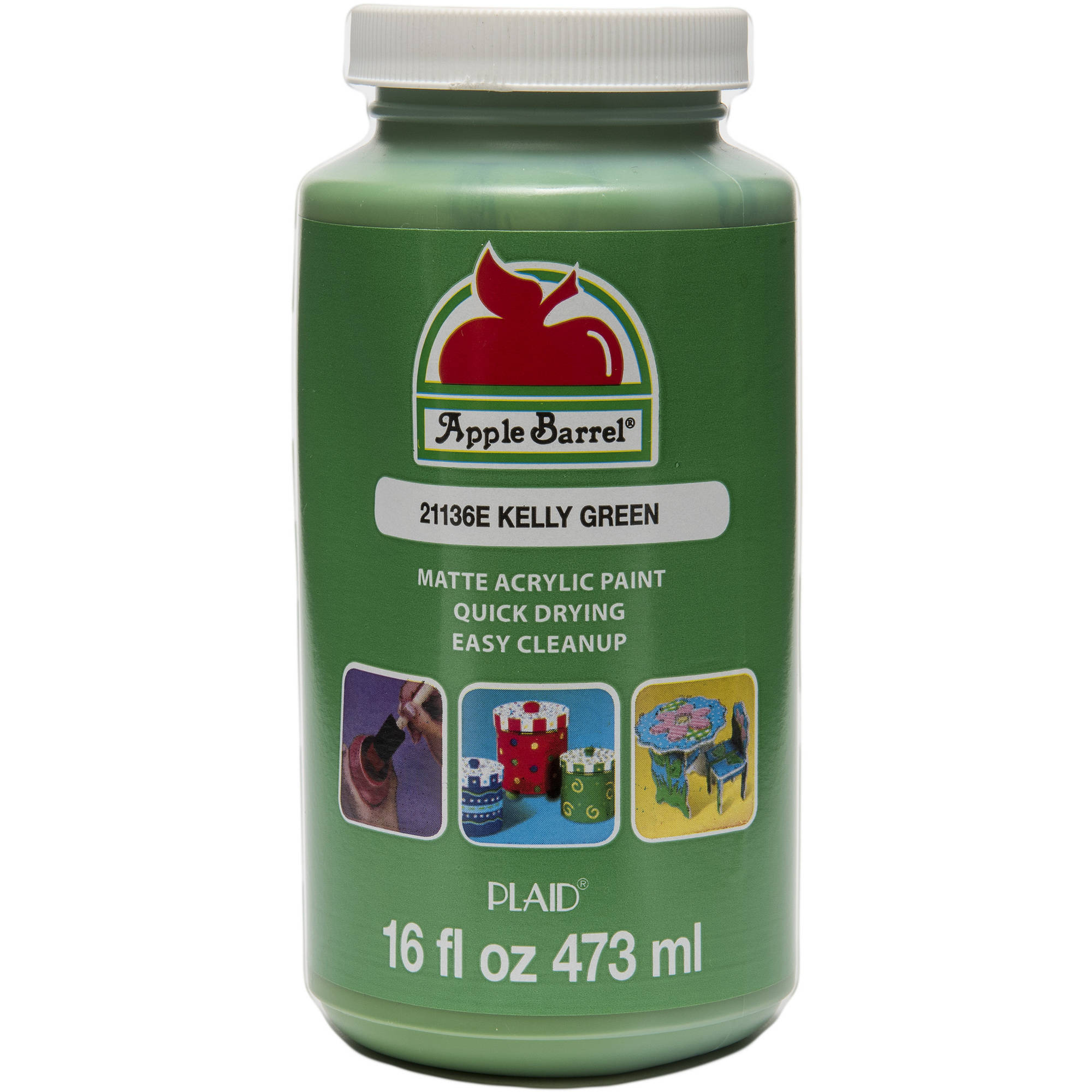 Apple Barrel Matte Finish Kelly Green Acrylic Craft Paint, 16 Fl. Oz.