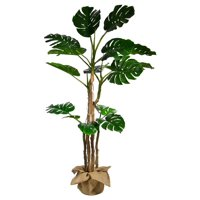 "72"" Tall Monstera Artificial Indoor/ Outdoor Faux Dcor with Burlap Kit By Minx NY"