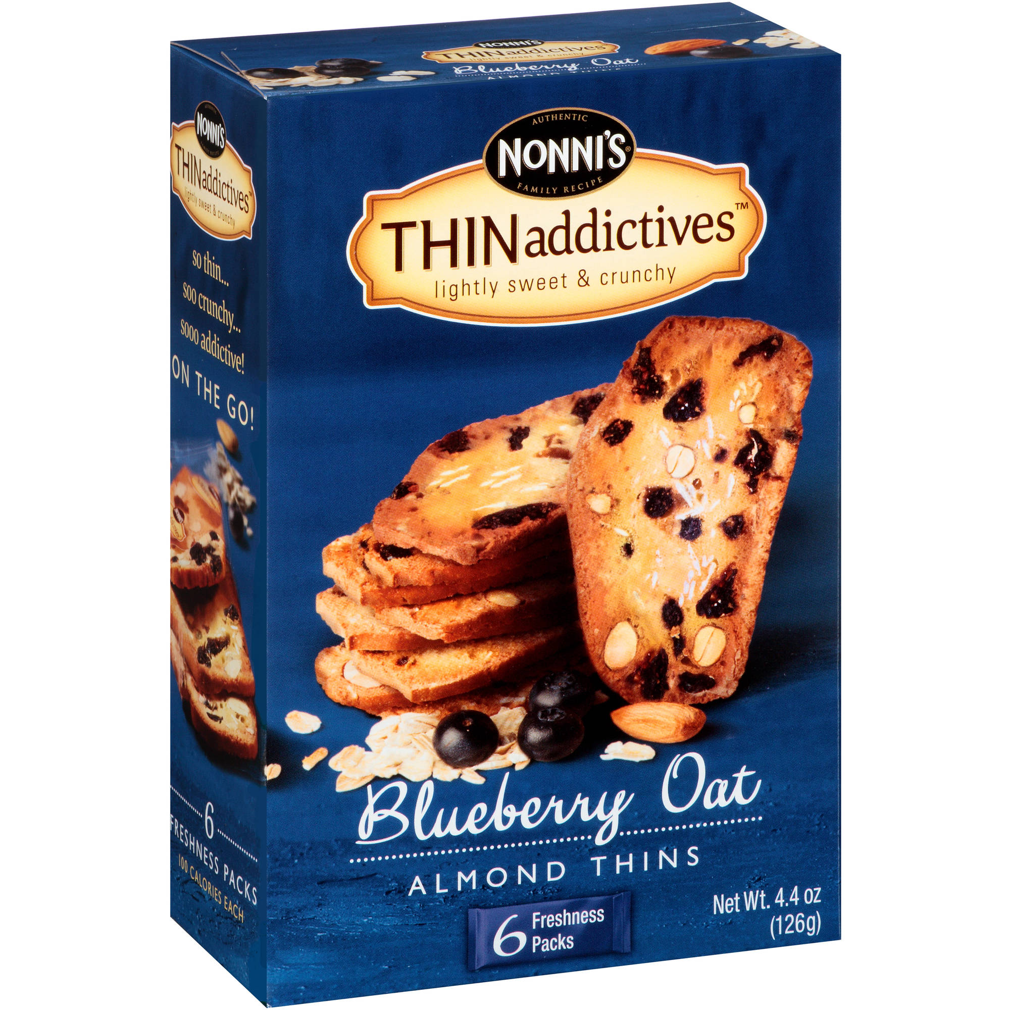 Nonni's THINaddictives Blueberry Oat Almond Thins, 4.4 oz