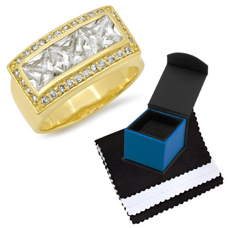 Gold Plated Channel Set (Men's Large 14k Gold Plated Channel Set Princess Cut Bling Cubic Zirconia Ring, Size 11.5 )
