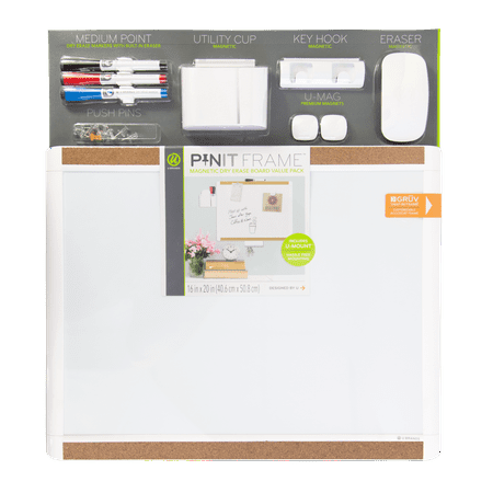 - U Brands Pin-It Magnetic Dry Erase Board Deluxe Value Pack, 20 in. x 16 in., White