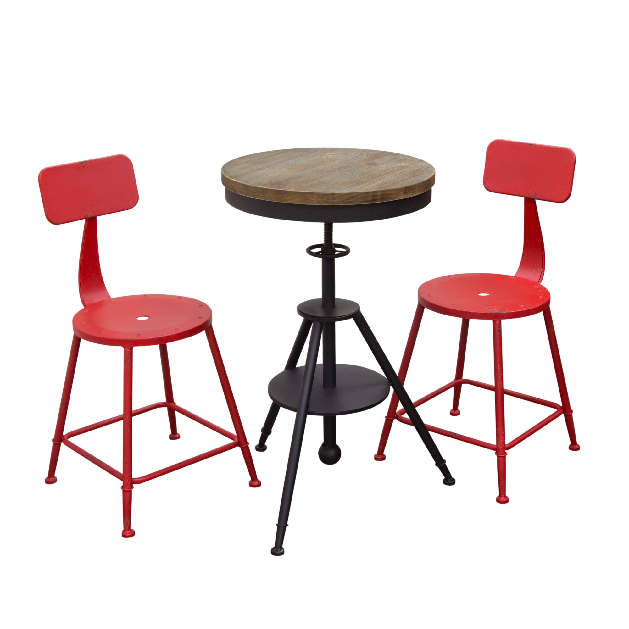 douglas 3pc set vintage adjustable height bistro table with weathered grey top and powder coat iron