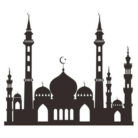 Muslim Ramadan Festival Decoration Mosque Pattern Wall Sticker Decal Poster Home Decor 49.6x57cm - image 1 of 8