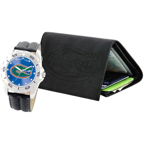 Game Time NCAA Men's University of Florida Gators Watch and Tri-Fold Wallet Set, Black