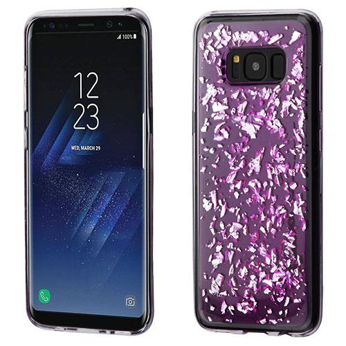 Samsung Galaxy S8 Case - Wydan Shock Absorbant Slim Krystal Series Shiny Flakes Skin Cover Purple - Silver Flakes