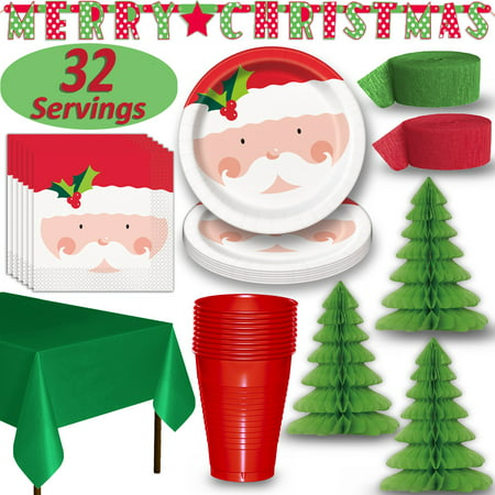 Christmas Party Tableware & Decorations - 32 Guests - Santa Dinner Plates and Napkins, Red Cups, Green Tablecloths, 3 Tree Centerpieces, Red and Green Crepe Streamers, MERRY CHRISTMAS banner](Christmas Tablecloths And Napkins)