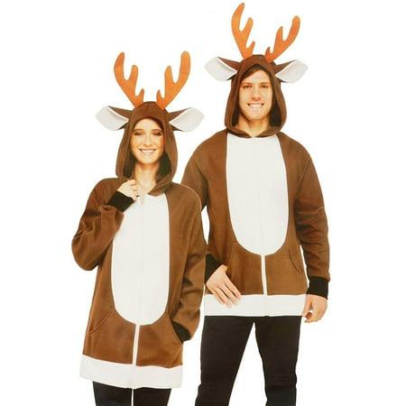 North Pole Reindeer Adult Costume Hoodie - Make Reindeer Costume