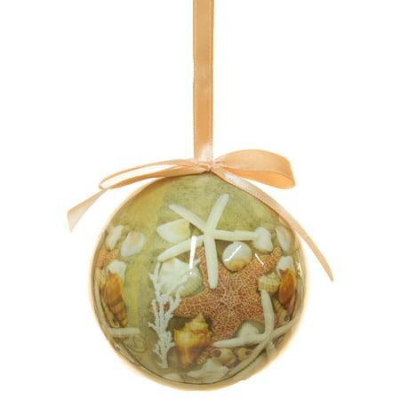 Nautical Christmas Decoration Starfish and Shells Ball Ornament ()