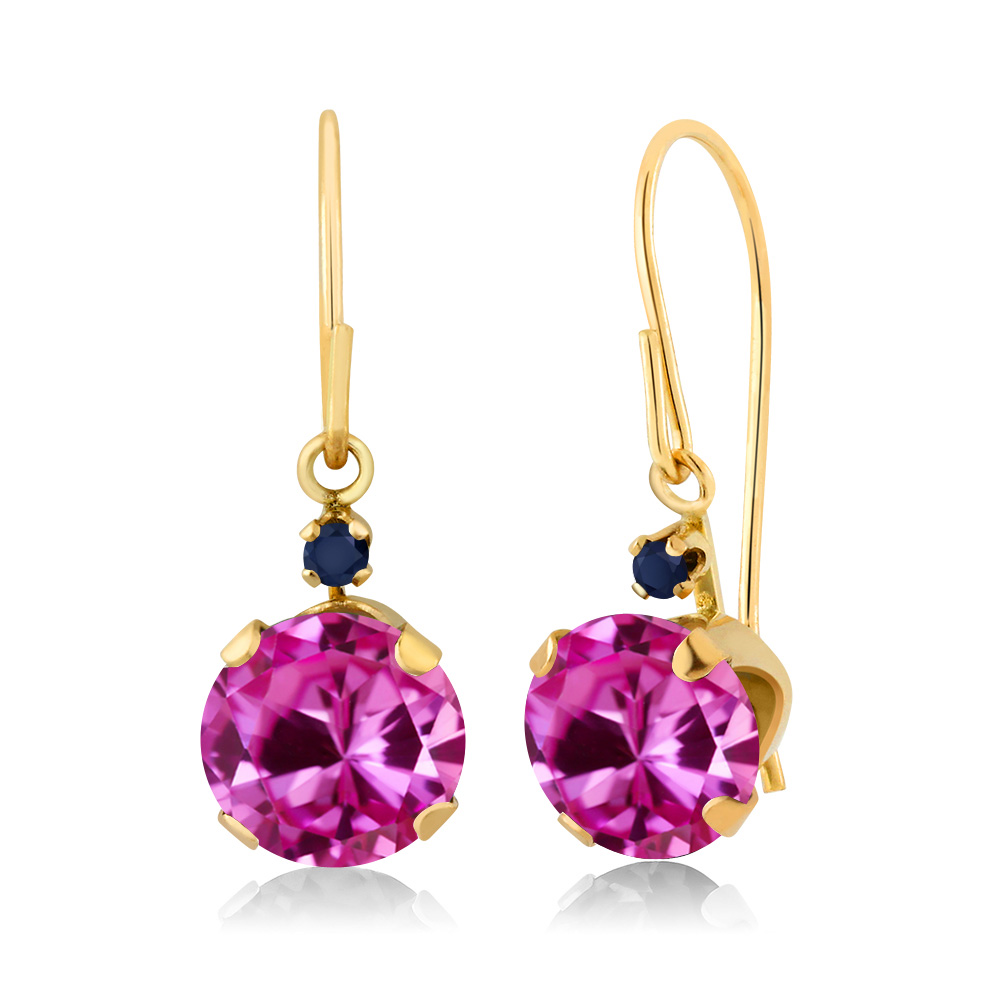 2.04 Ct Round Pink Created Sapphire Blue Sapphire 14K Yellow Gold Earrings by