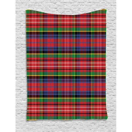 Plaid Tapestry, Caledonia Scottish Traditional Pattern Tartan Motif Abstract Squares Ornate Quilt, Wall Hanging for Bedroom Living Room Dorm Decor, Multicolor, by Ambesonne