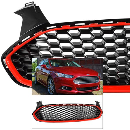 - Front Grille for Ford Fusion 2013-2016 Mustang Style Red Trim Glossy Honeycomb