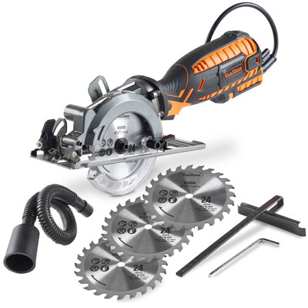 VonHaus 5.8 Amp Corded Ultra-Compact Circular Saw - 3,500 RPM with Miter Function, Dust Port, Vacuum Hose and 4x 24T Wood Saw Blades Kit