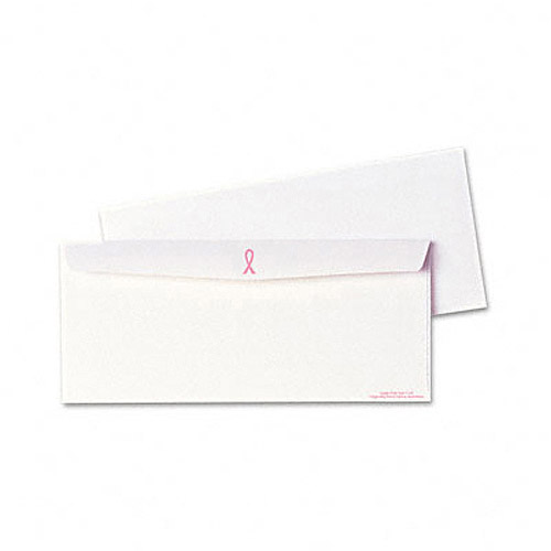 Quality Park Breast Cancer Awareness Envelope, Contemporary, #10, White/Pink Ribbon, 500/Box