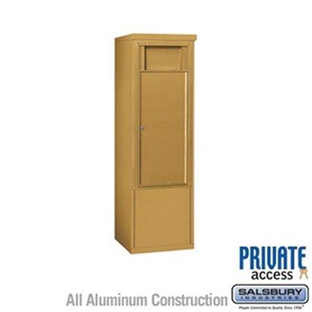 Salsbury 3910SX-1BGF 52 - 0.75 in. 10 Door High Unit Single Column 1 Receptacle Bin Free Standing 4C Horizontal Receptacle Bin ADA Height Compliant, Gold - Front Access