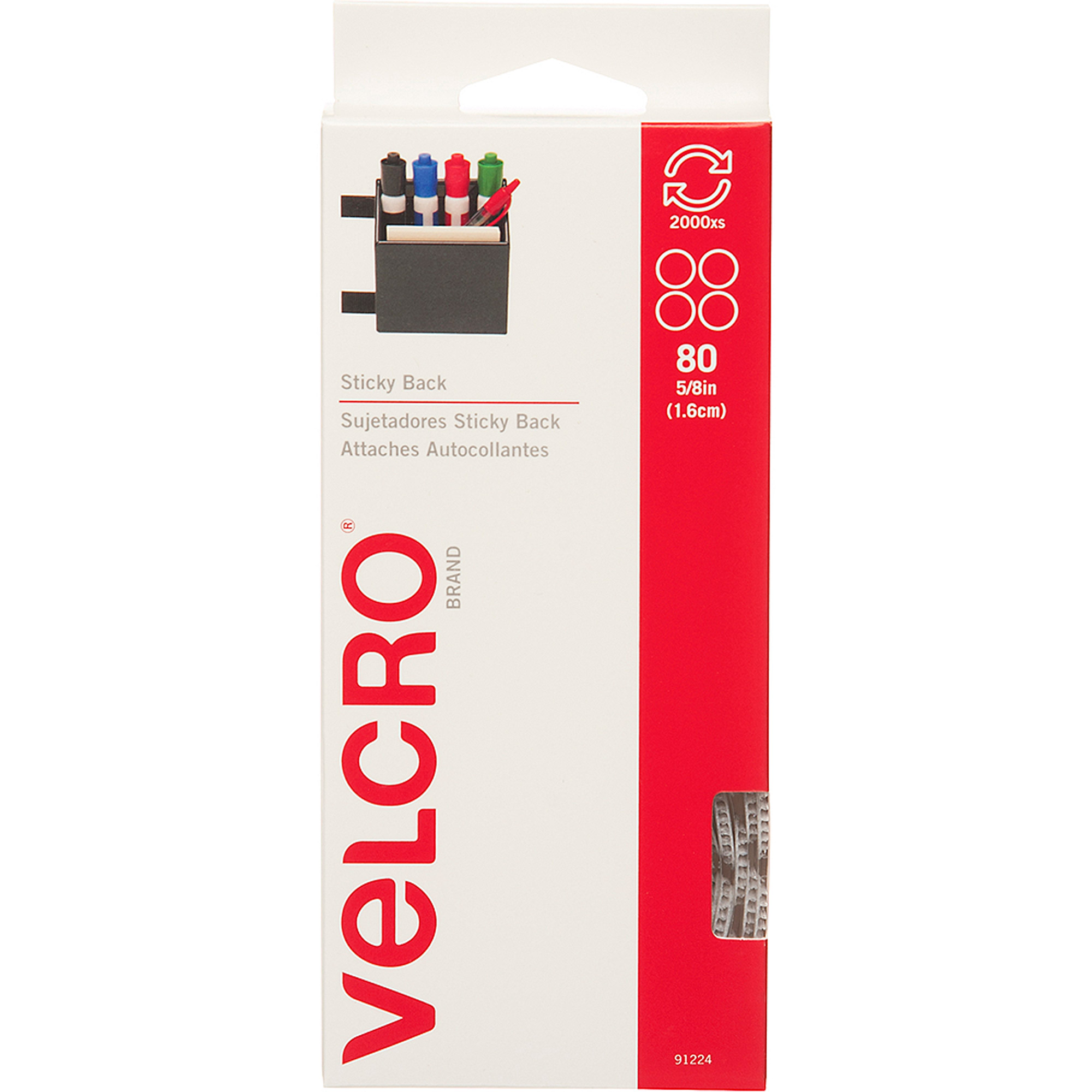 """VELCRO Brand Sticky Back, 5/8"""" Coins, White, 80-Count"""