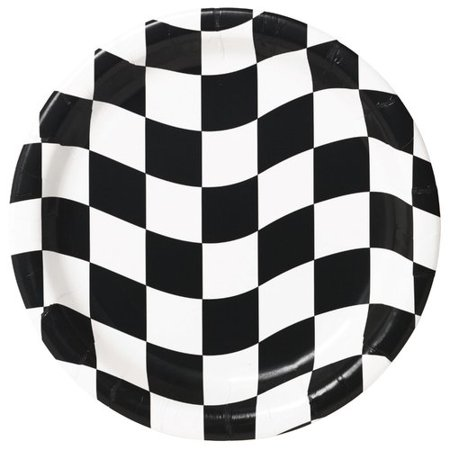 Creative Converting Black and White Checkered Paper Dessert Plate (Set of 24)