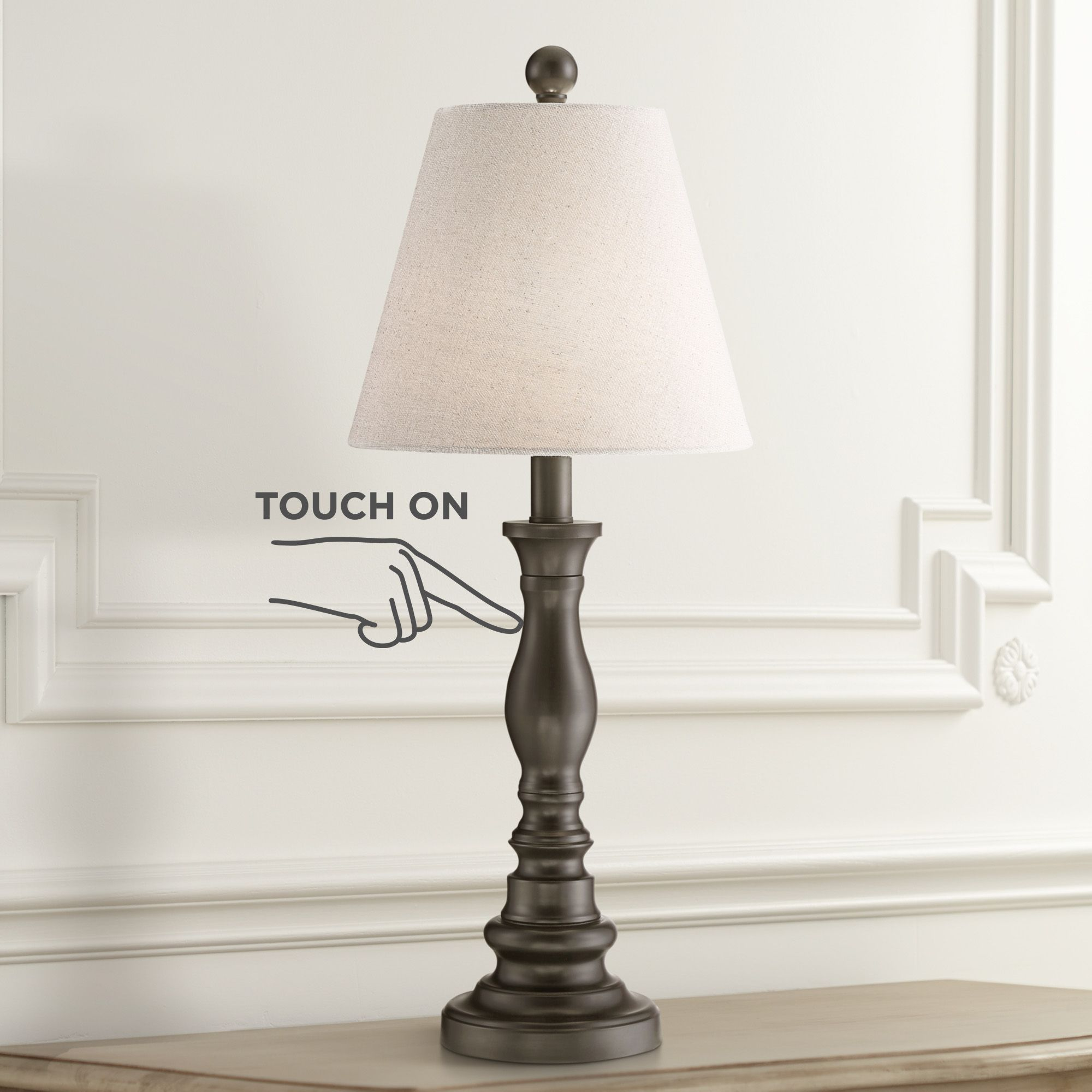 360 Lighting Traditional Desk Table Lamp Dark Bronze Metal Off White Empire Shade Touch On For Living Room Bedroom Office