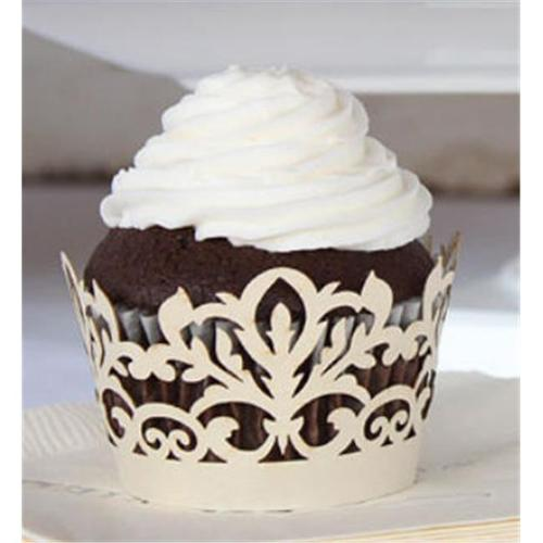 Weddingstar 9252-79 Classic Damask Filigree Paper Cupcake Wrappers - Ivory Shimmer- Pack of 12