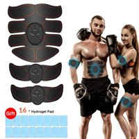 Abs Stimulator Ultimate Muscle Toner with 16 Extra Gel Pads, EMS Abdominal Toning Belt for Men and Women, Arm and Leg Trainer, Office, Home Gym Fitness Equipment