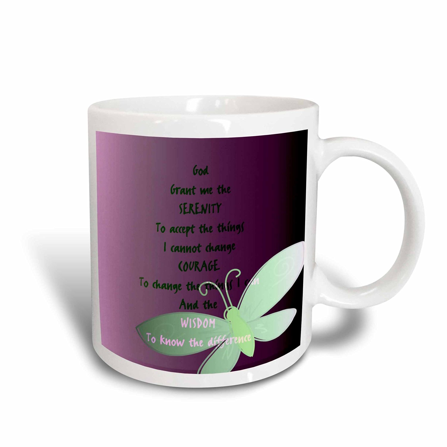 3dRose Serenity Prayer- Butterfly Purple Art, Ceramic Mug, 15-ounce