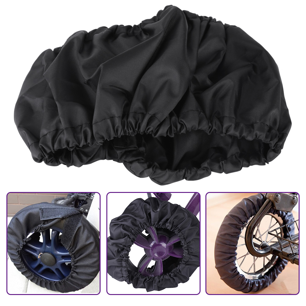 Dilwe 4Pcs/Set Child Kid Baby Stroller Wheel Protection Covers Black Dustproof Accessories, Stroller Cover, Wheel Protection Cover