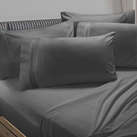 5 Piece 1800 Collection Bed Sheet Set with Extra Pillowcases, Deep Pockets Fitted Sheet, 100% Soft Microfiber, Hypoallergenic, Cool & Breathable, Twin, Charcoal Stone Gray