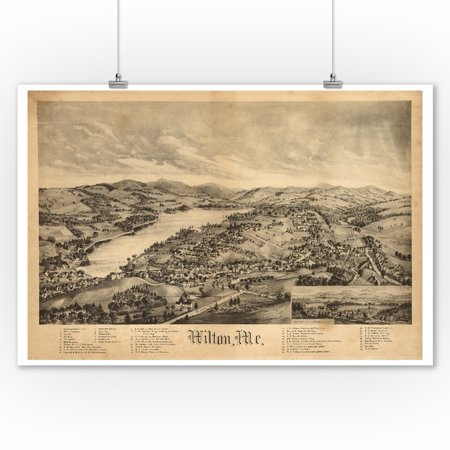 Wilton, Maine - Panoramic Map (9x12 Art Print, Wall Decor Travel Poster)