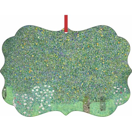 (Artist Gustav Klimt Under the Rose Bushes Painting -  Aluminum SemiGloss Quality Aluminum Benelux Shaped Hanging Christmas Holiday Tree Ornament Made in the U.S.A.)