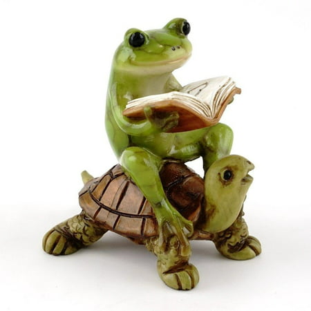 Resin Turtle (Top Collection Miniature Fairy Garden & Terrarium Frog Reading Book on Turtle Statue, Small )