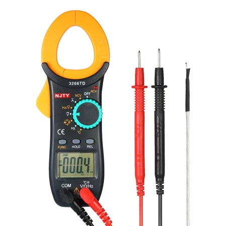 NJTY Digital Clamp Meter 4000 Counts Auto Range Multimeter with NCV Test AC/DC Voltage AC Current Portable Handheld Multimeter LCD Diaplay Measuring Resistance Capacitance Frequency Continuity Diode T ()
