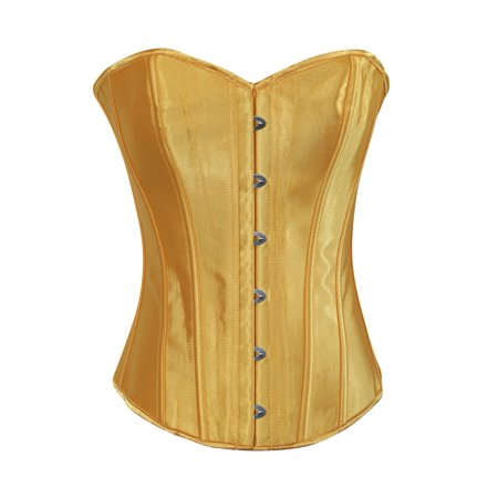 Chicastic Yellow Satin Sexy Strong Boned Corset Lace Up Bustier Top - XX-Large