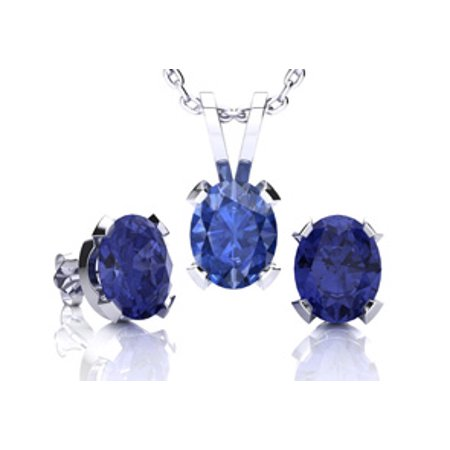 - 1 2/3 Carat Oval Shape Tanzanite Necklace and Earring Set In Sterling Silver