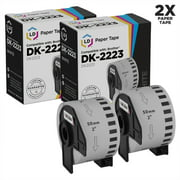 LD Compatible White Paper Tape Roll Replacement for Brother DK-2223 1.9 in x 100 ft (White, 2-Pack)