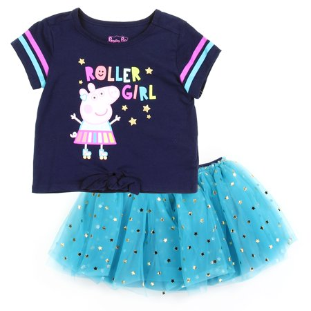 Peppa Pig Toddler Girls' 2PC Top & Tutu Skirt Set - Navy Blue/Turquoise - Sizes 2T, 3T & 4T](Pig Outfit)