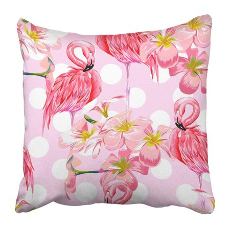 BPBOP Colorful Beautiful Floral Pattern with Pink Flamingos Tropical Flowers Abstract Geometric Polka Dot Pillowcase Pillow Cover 16x16 inches - Dot Flowers