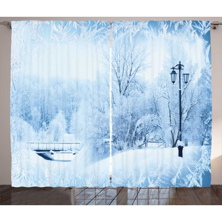 Winter Curtains 2 Panels Set, Winter Trees in Wonderland Theme Christmas New Year Scenery Freezing Icy Weather, Window Drapes for Living Room Bedroom, 108W X 84L Inches, Blue White, by Ambesonne Winter Wonderland Room Roll