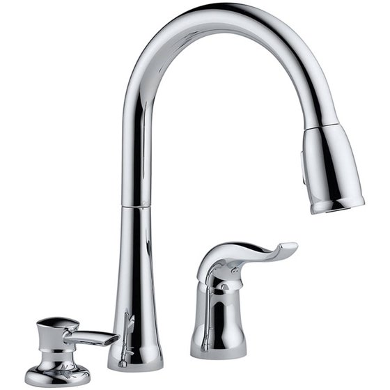 Delta 16970-SD-DST Kitchen Faucet with Pullout Spray and Soap Dispenser,  Chrome