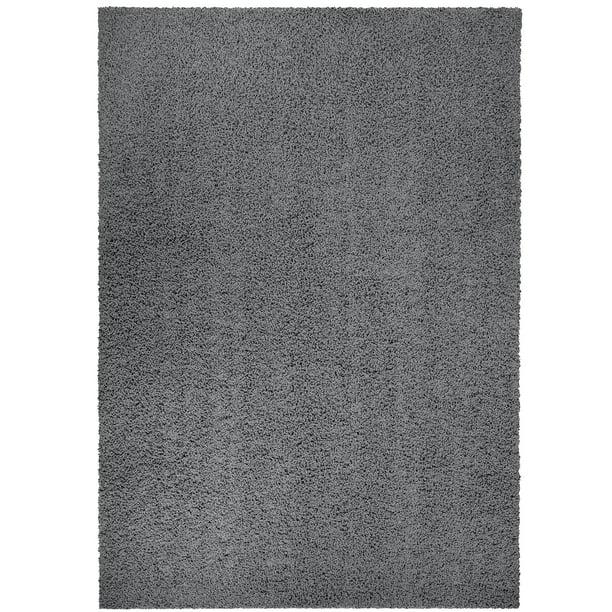 Mainstays Solid Olefin High Pile Shag Area Rug, Gray, 5