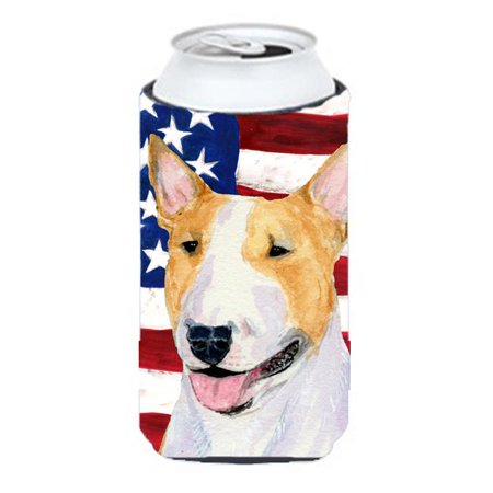 Usa American Flag With Bull Terrier Tall Boy   Hugger - 22 To 24 oz. - image 1 de 1