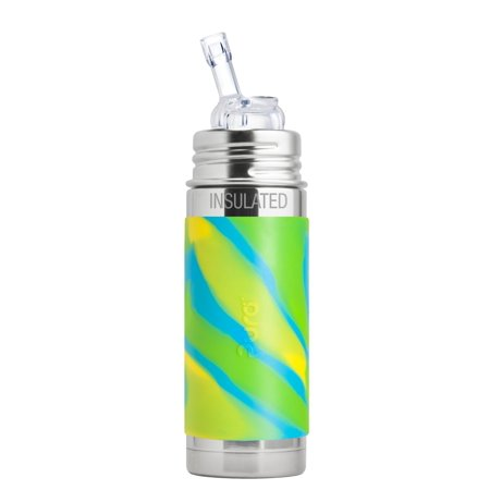 Pura Kiki 9 Oz / 260 Ml Insulated Stainless Steel Bottle With Silicone Straw & Sleeve, Aqua Swirl (Plastic Free, BPA Free, NonToxic