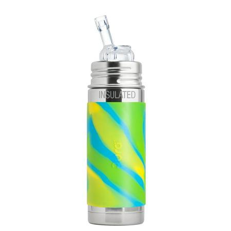 Pura Kiki 9 Oz / 260 Ml Insulated Stainless Steel Bottle With Silicone Straw & Sleeve, Aqua Swirl (Plastic Free, BPA Free, NonToxic Certified)
