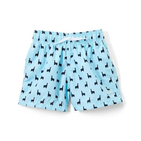 41ba276306 Azul Swimwear - Azul Boys Light Blue Lama Print Elastic Band Drawstring Swim  Shorts - Walmart.com