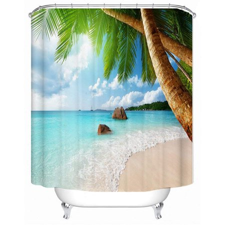 Tropical Beach Palm Trees Waterproof Bathroom Shower Curtain Art Decor 71 X 71 Inch - image 4 de 11