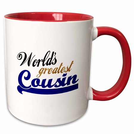 - 3dRose Worlds Greatest Boy Cousin - Best family relative - blue text for male relations - cousin brother - Two Tone Red Mug, 11-ounce