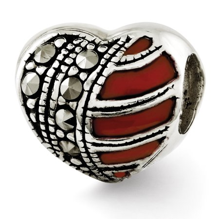 Sterling Silver Marcasite Ribbon - Sterling Silver Reflections Marcasite & Enameled Heart Bead