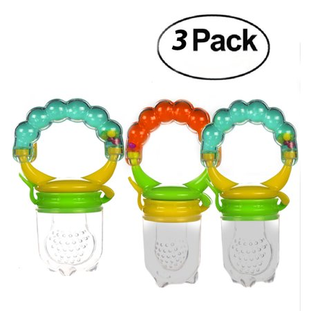 Baby Fruit Feeder Pacifier Rattle (3 Pack) Fresh Food Feeder-Silicone Nipple Teething Toy-Silicone Pouches for Toddlers & Kids  - Blinkies Toy